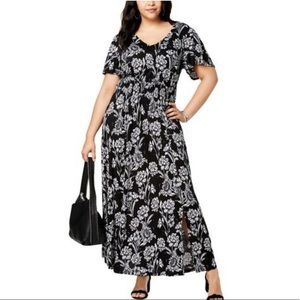 INC Plus Ruched Floral Maxi Dress NWT
